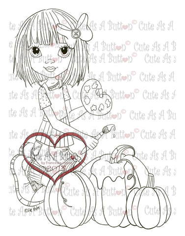 Cute As A Button Stamps Painting the Harvest Digistamp