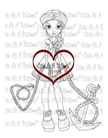 Cute As A Button Digistamp Sailor Girl Holding Anchor Digistamp