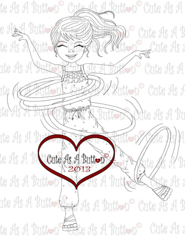 Cute As A Button Stamps Hula Hoop Digistamp