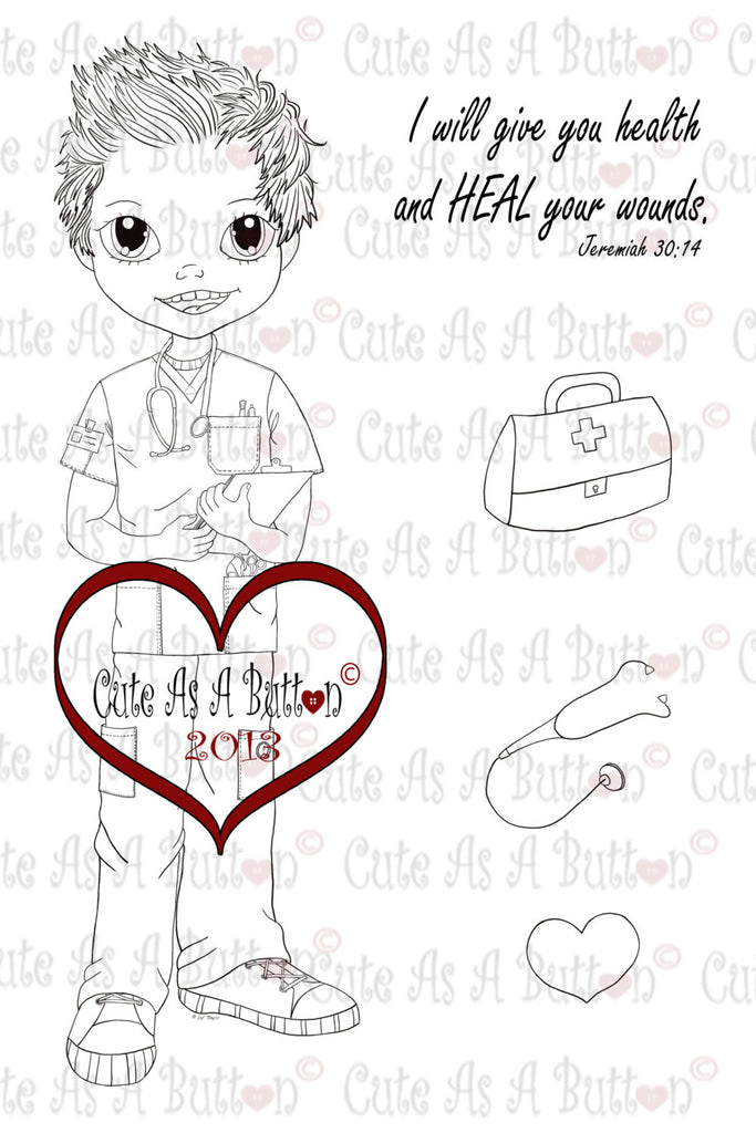 Cute As A Button Stamps Male Nurse Digistamp