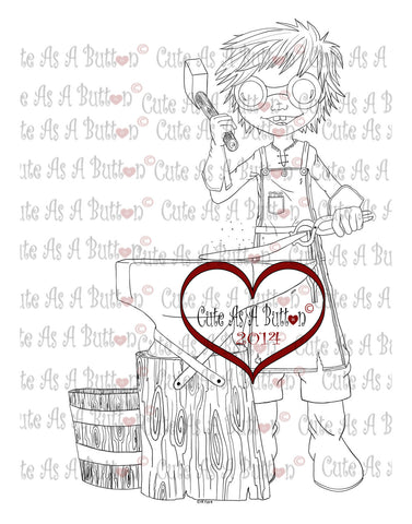 Cute As A Button Digistamp Steampunk Blacksmith