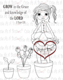 IMG00143 Grow In The Lord - Bible Journaling Bookmark Digital Digi Stamp