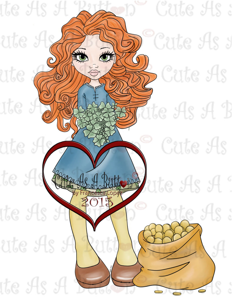 Cute As A Button Designs IMG00174 Pre-colored Luck of the Irish Digital Digi Stamp