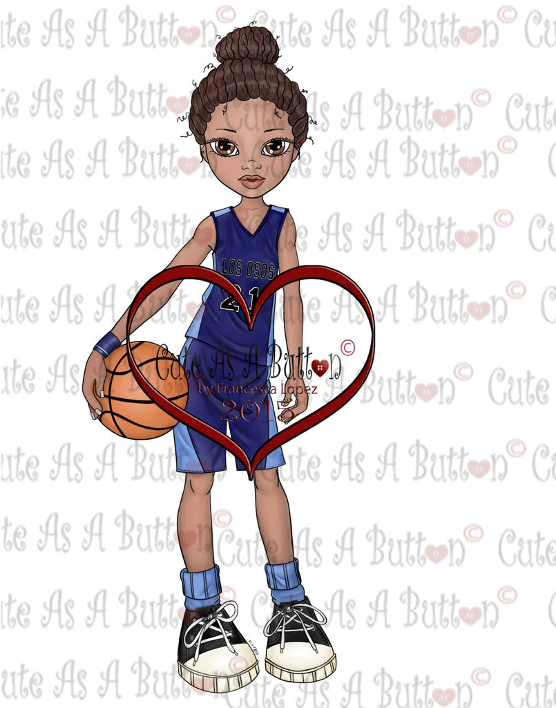 Cute As A Button IMG00180 pre-Colored Lisa Basketball Digital Digi Stamp