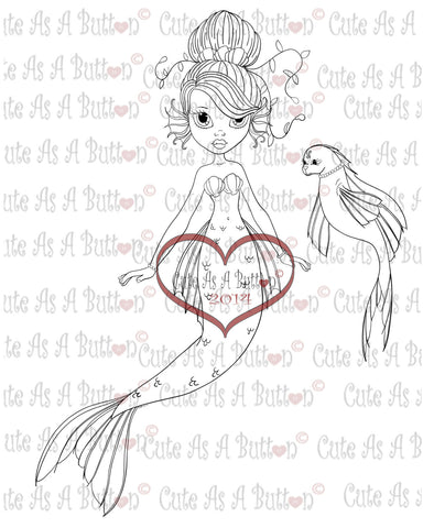 IMG00160 Shell Mermaid Digital Digi Stamp