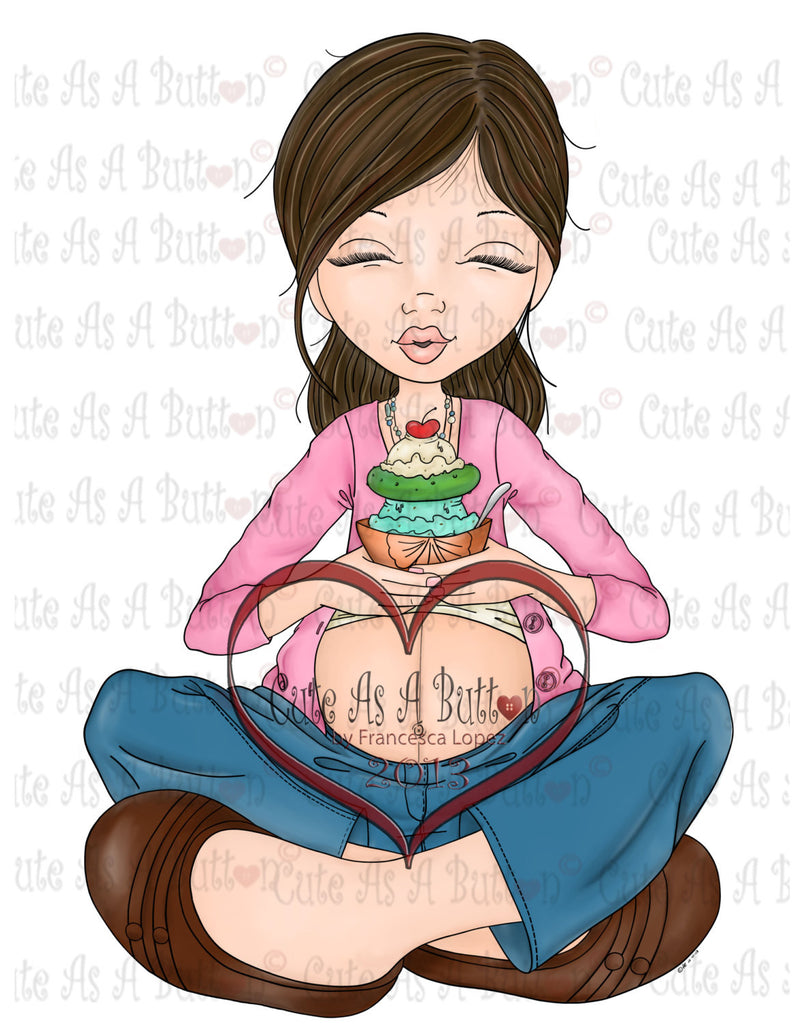 Cute As A Button Designs IMG00159  Pre-Colored Monica Pickles and Ice Cream Digital Digi Stamp