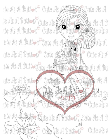 Cute As A Button Stamps Girl with Shih Tzu Digistamp