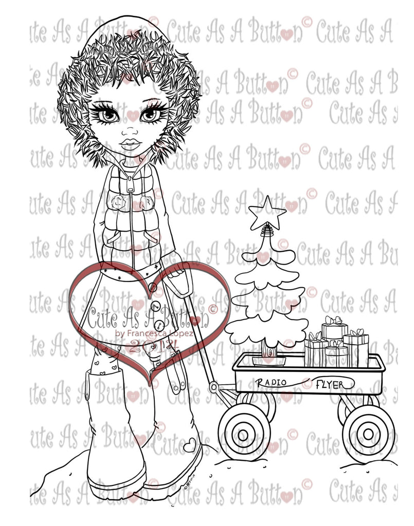 Cute As A Button Digistamps Christmas Belle digistamp