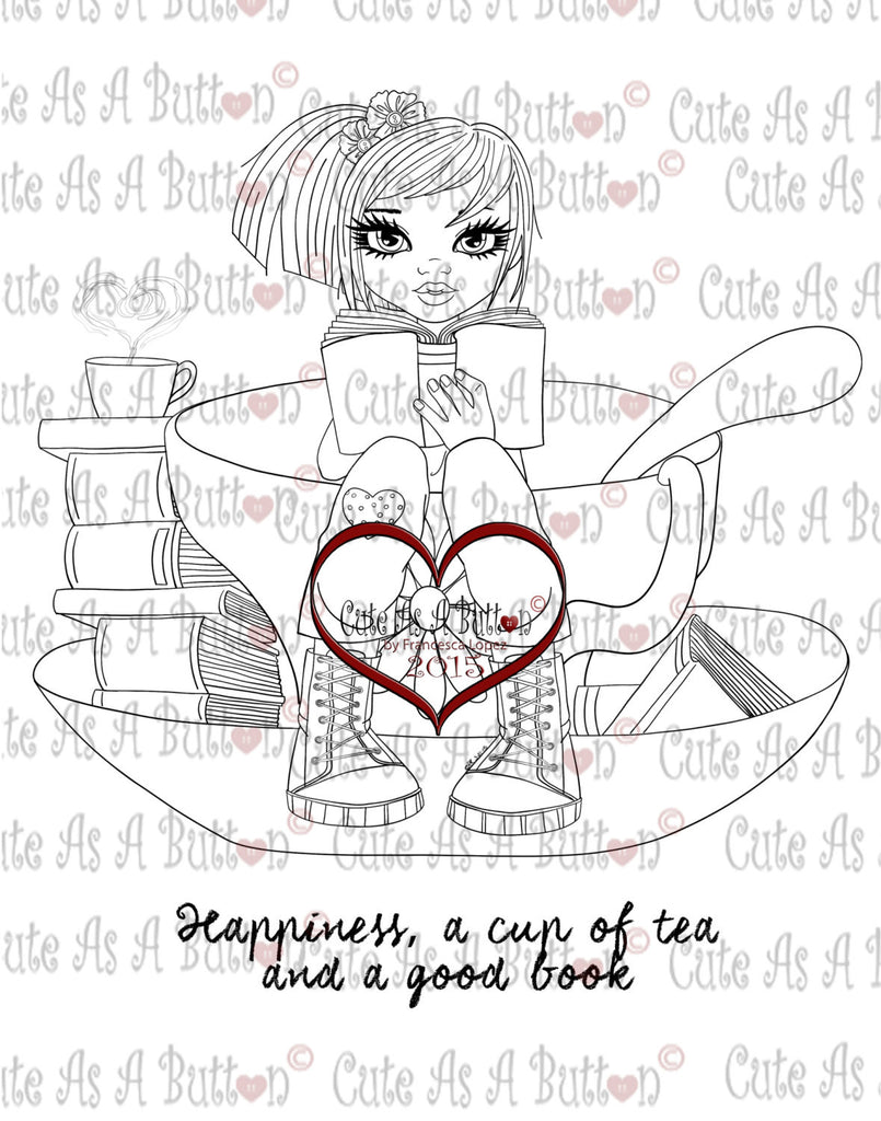 IMG00210 A good book and a cup of tea Digital Digi Stamp