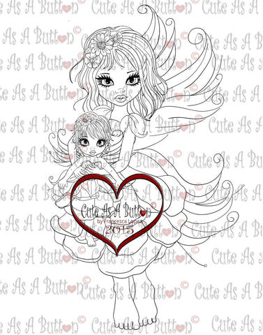 IMG00223 Rose and Rosebud  Fairies Digital Digi Stamp
