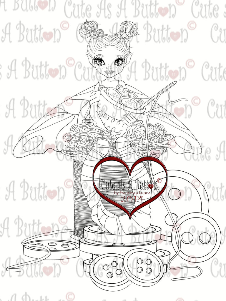 Cute As A Button Stamps Sew Cute Digistamp