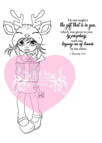 IMG00576-Reindeer Gift (Girl) Do-Not-Neglect-The-Gift-Within-You 1 Timothy 4:12  - Bible Journaling Digital Digi Stamp