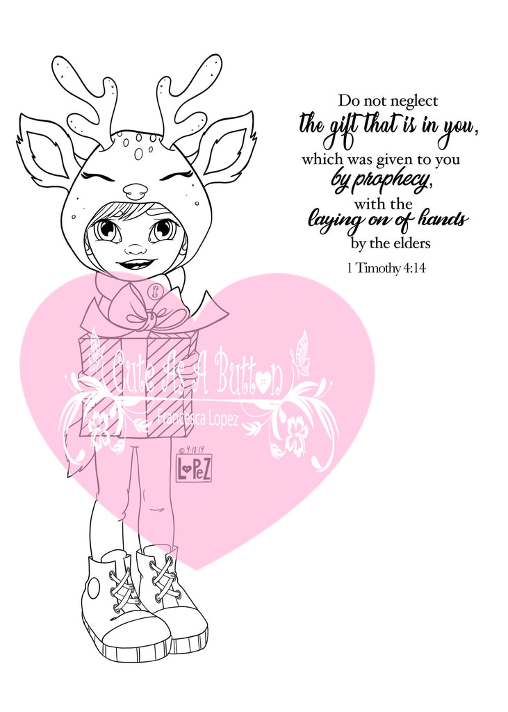 IMG00577-Reindeer Gift (Boy) Do-Not-Neglect-The-Gift-Within-You 1 Timothy 4:12 - Bible Journaling Digital Digi Stamp