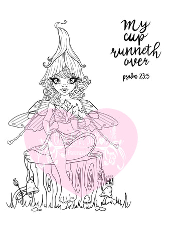 IMG00559-Pixie-Dust-Fairy My Cup Runneth Over - Bible Journaling Digital Digi Stamp