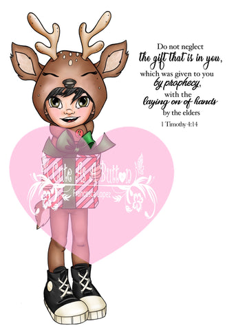 IMG00577-Reindeer Gift (Boy) Do-Not-Neglect-The-Gift-Within-You 1 Timothy 4:12 PreColored- Bible Journaling Digital Digi Stamp
