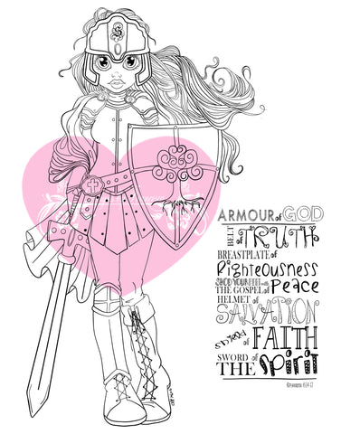 IMG00410 Put on the Full Armor - Bible Journaling Bookmark Digital Digi Stamp