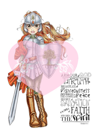 IMG00410 Pre-Colored PUT ON THE ARMOR OF GOD Digital Digi Stamp