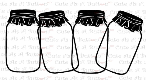 Cute As A Button Designs SVG00005 Mason Jar Border SVG