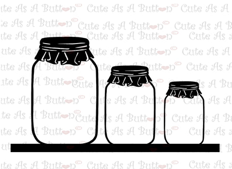 Cute As A Button Designs SVG00004 Mason Jar Shelf SVG