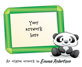 Kids Artwork Tea Towel - Cute Panda Frame