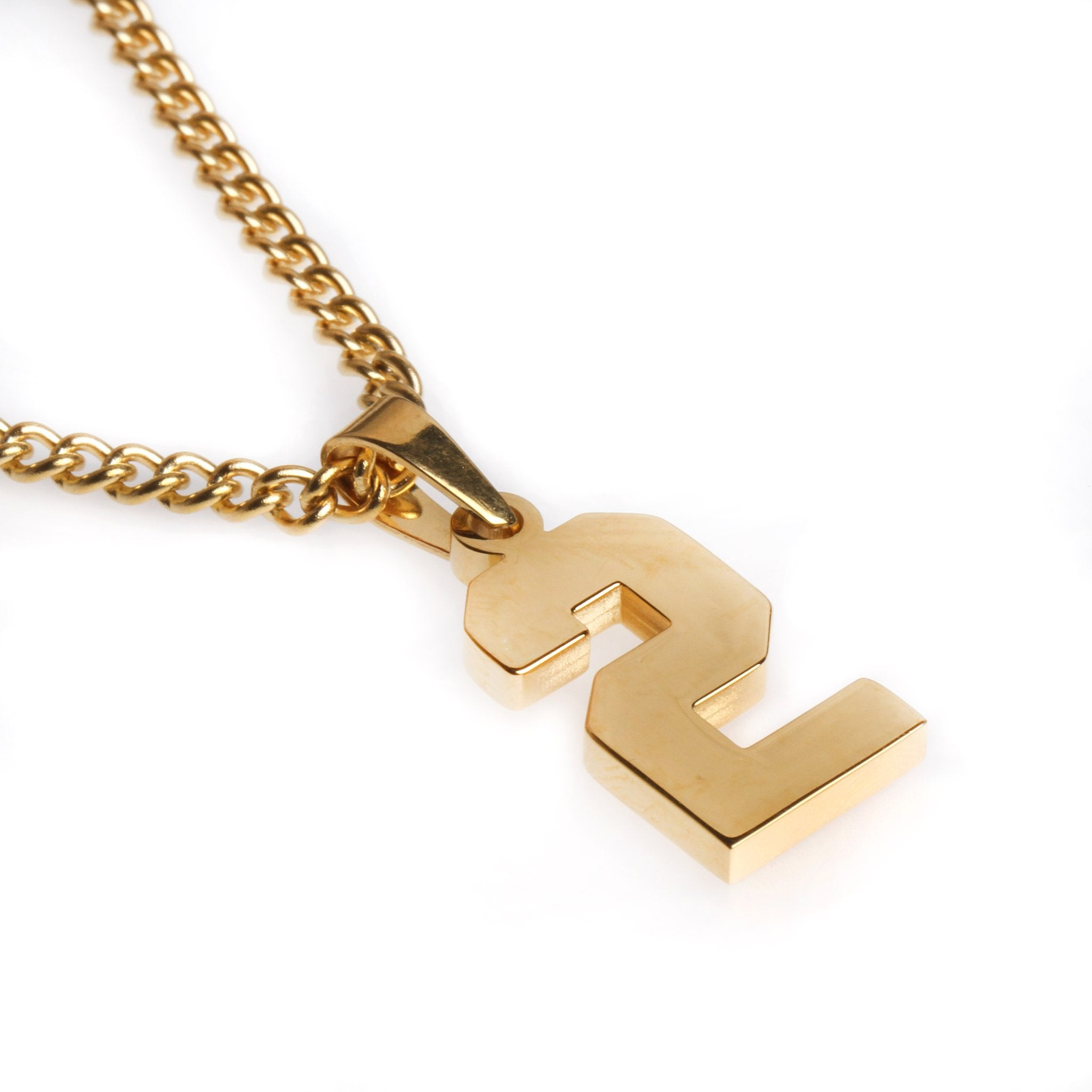 golden stainless polished jersey number pendant and chain filthy
