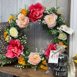 Bre'Dazzled Pink Floral Wreath