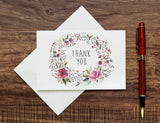 Floral Thank You Cards and Stickers (Set of 50)