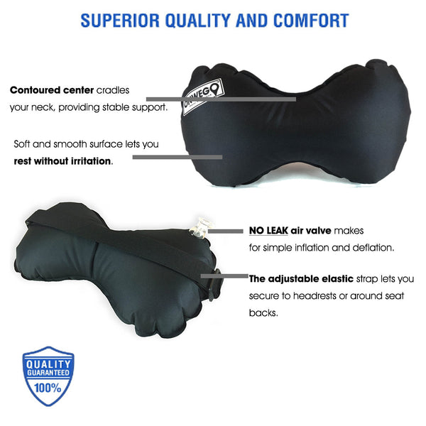 Inflatable Neck And Lumbar Travel Air Pillow With Strap