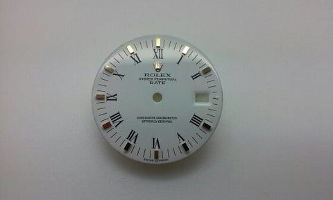 Rolex Men's Date White Painted Roman Numerals with Square Hour Markers for Two-Tone or Gold