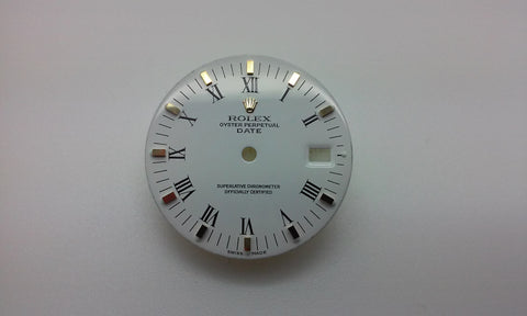 Rolex Men's Date White with Painted Roman Numerals and Block Markers for Two-Tone or Gold