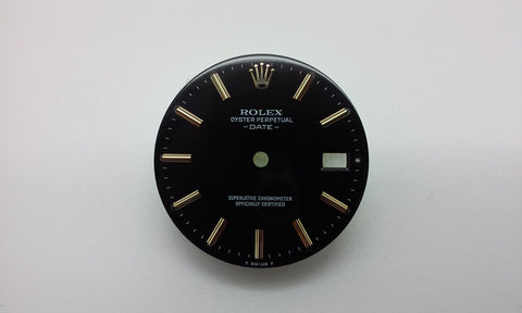 Rolex Men's Date Black with Stick Hour Markers for Stainless-Steel