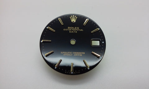 Rolex Men's Date Black with Stick Hour Markers for Two-Tone or Gold
