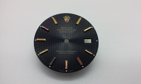 Rolex Men's Datejust Black Tapestry with Stick Markers for Two-Tone or Gold Markers