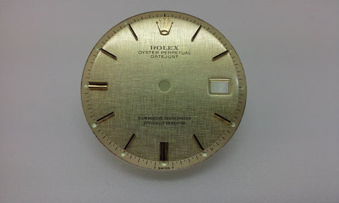 Rolex Men's Datejust Champagne Linen with Stick and Bar Markers for Two-Tone or Gold