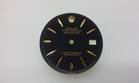Rolex Men's Datejust Black with Stick and Oval Bar Markers for Two-Tone or Gold Non-Quick Movement