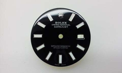 Rolex Men's Datejust Black with Bar Markers for Stainless-Steel