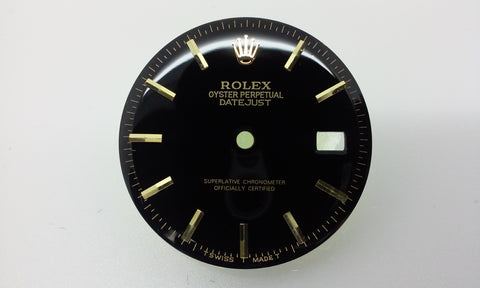 Rolex Men's Datejust Black with Stick Markers for Two-Tone or Gold Non-Quick Movement
