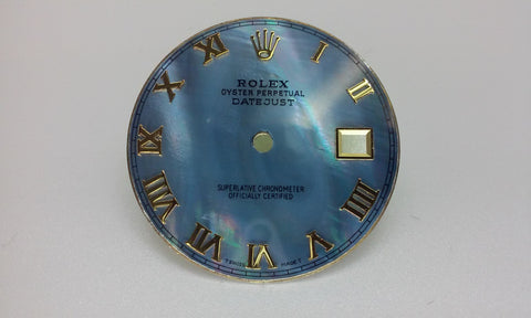 Rolex Men's Datejust Blue Mother of Pearl with Roman Numeralsfor Two-Tone or Gold