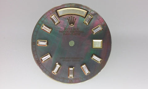 Rolex Day-Date Tahitian Mother of Pearl Full Baguette Markers for Gold