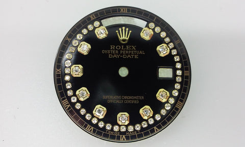 Rolex Day-Date Black String and Diamonds for Gold
