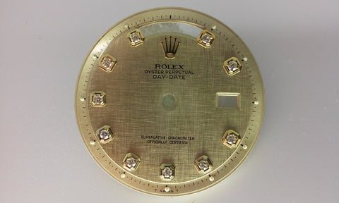 Rolex Day-Date Champagne Linen with Diamonds for Gold Non-Quick