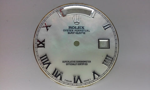 Rolex Day-Date White Mother of Pearl with Roman Numeral for White Gold or Platinum