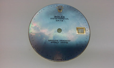"Rolex Men's Date Blue Mother of Pearl ""Blind"" for Two-Tone or Gold"