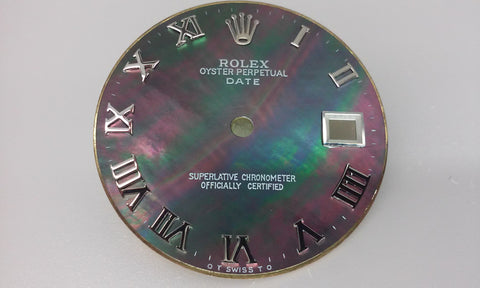 Rolex Men's Date Tahitian Mother of Pearl with Roman Numerals for Stainless-Steel