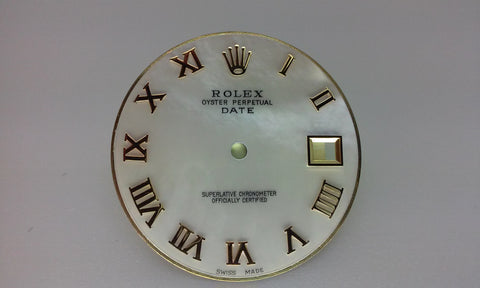 Rolex Men's Date White Mother of Pearl with Roman Numeral Hour Markers for Two-Tone or Gold
