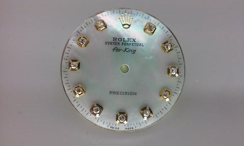 Rolex Air-King White Mother of Pearl Diamond Dial for Two-Tone or Gold