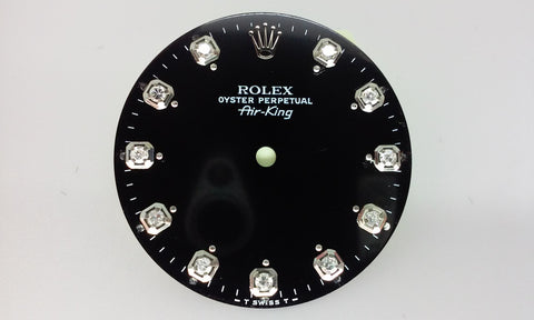 Rolex Air-King Black Diamond Dial and Hour Marker Pins for Stainless-Steel