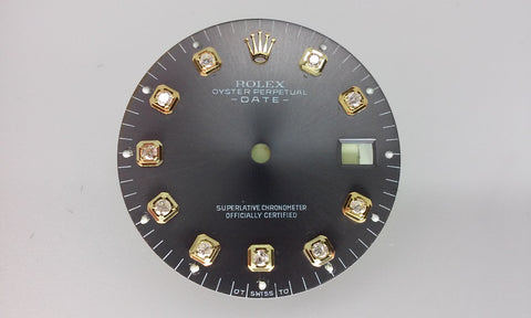 Rolex Men's Date Slate Dial with Diamonds for Two-Tone or Gold