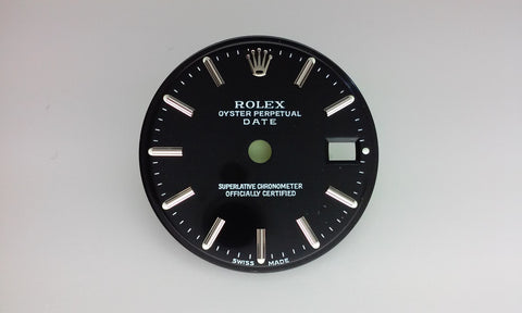 Rolex Ladies Date Black with Stick Markers for Stainless-Steel