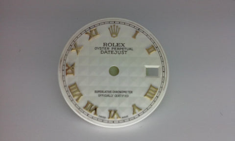 "Rolex Ladies Date Cream ""Pyramid"" with Roman Numerals for Two-Tone or Gold"